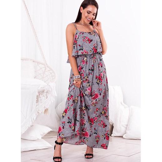 b920cc1c12 ... Sukienka MAXI MEVRA - szara w różowe kwiaty Selfieroom wyprzedaż  Selfieroom.pl
