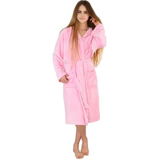 455e0552c49d42 ... Ciepły pluszowy szlafrok z kapturem kigurumi onesie - różowy jednorożec  L world-style.pl