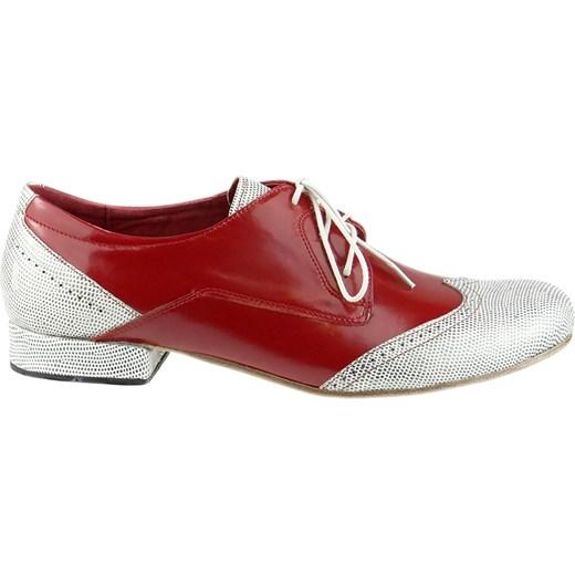 26750de1 Buty eleganckie męskie Elante czerwone sznurowane jesienne skórzane ...