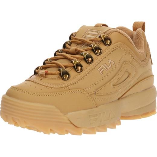 Sneakersy damskie Fila skórzane żółte