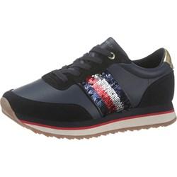 340d45b3313ea Buty sportowe damskie Tommy Hilfiger sneakersy młodzieżowe granatowe  sznurowane zamszowe