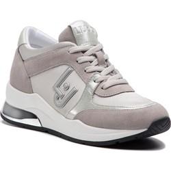 1143f3d6 Sneakersy damskie Liu•jo beżowe wiązane na koturnie ze skóry ekologicznej