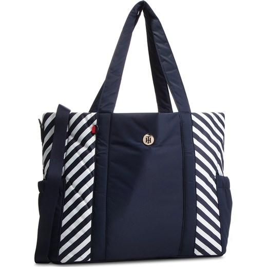 bd27a42168f2d Shopper bag Tommy Hilfiger niebieska bez dodatków na ramię w Domodi