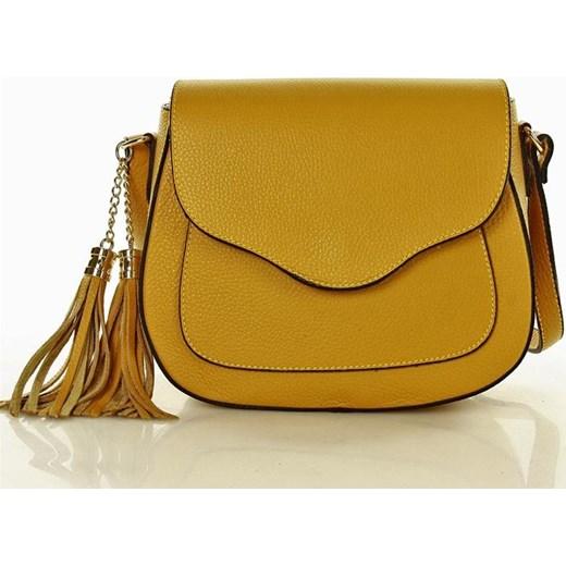 65092bdb1f7b6 Vittoria Mazzini Elegancka torebka włoska skóra - żółta Mazzini One Size  merg.pl ...