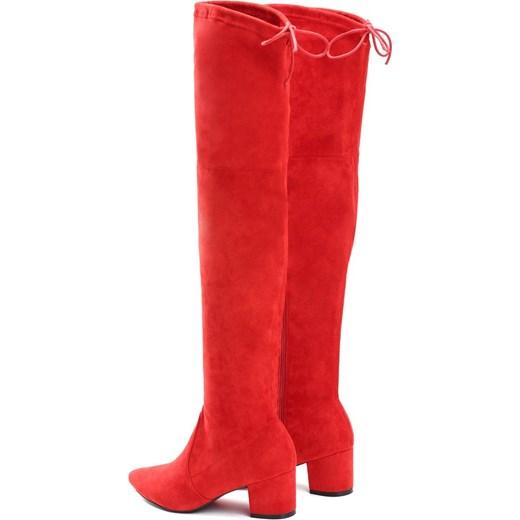 b10b70c618375 ... Kozaki damskie Renee na zimę za kolano czerwone bez wzorów na słupku na  zamek ...