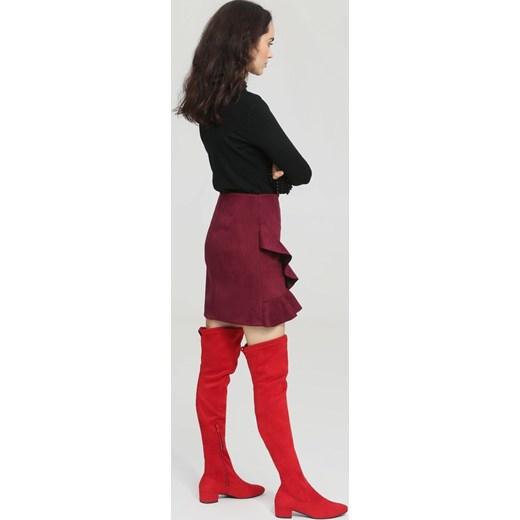 b242eb6c4d432 ... Kozaki damskie Renee gładkie czerwone za kolano na zamek zamszowe na  obcasie ...