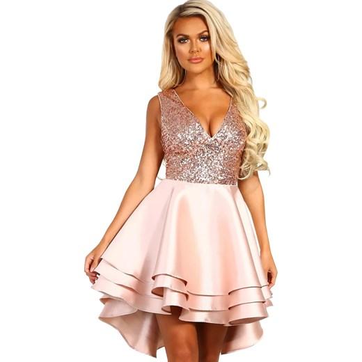 59327edd93b2 Sukienka Elegrina na wesele różowa poliestrowa mini bez rękawów w Domodi