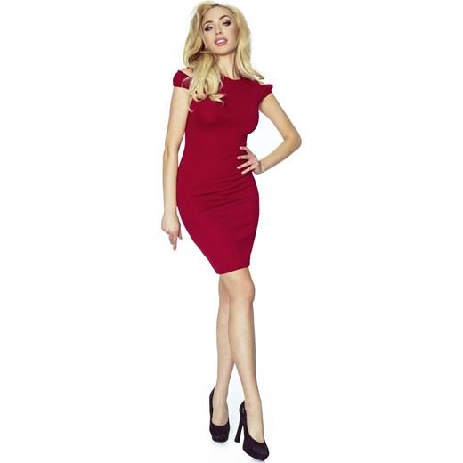 fc0aaab730 Sukienka Fokus z elastanu midi dopasowana czerwona z krótkim rękawem ...