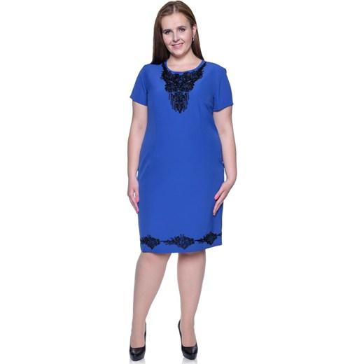 fd9f9418a69 Sukienka dla puszystych z elastanu z okrągłym dekoltem midi w Domodi
