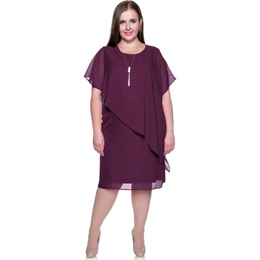 a1dc00344f Sukienka fioletowa midi z wiskozy w Domodi