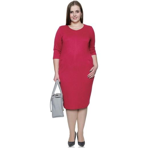 bf12ffa721 Malinowa sukienka z kieszonkami dekolt V 46 Modne Duże Rozmiary ...