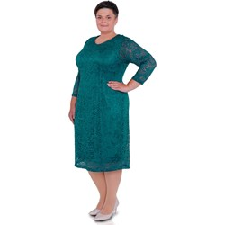 b4cd3ac746 Modne Duże Rozmiary. Sukienka z długimi rękawami niebieska z okrągłym  dekoltem gładka dla puszystych