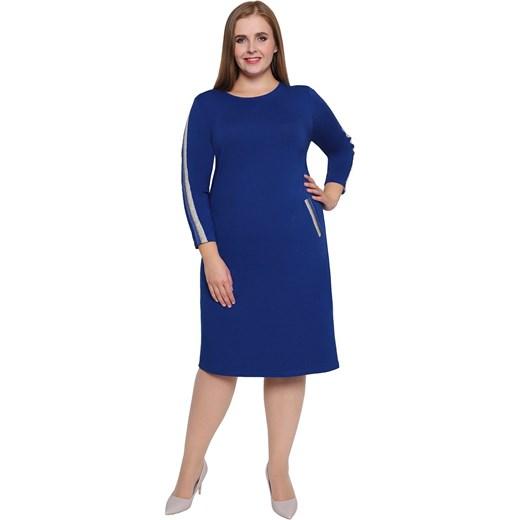 c783eb24b8 Sukienka z długim rękawem bez wzorów midi dla puszystych w Domodi