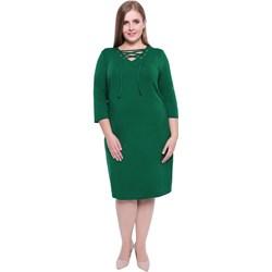 545312712a Modne Duże Rozmiary. Sukienka zielona na wiosnę bez wzorów dla puszystych z  długimi rękawami