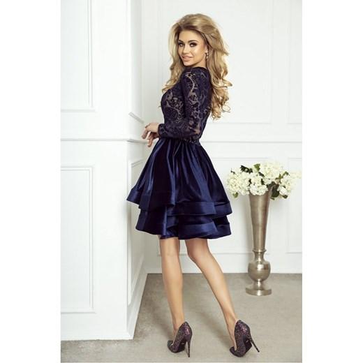 16b731f6aa ... Niebieska sukienka Jestes Modna z okrągłym dekoltem elegancka  rozkloszowana z długimi rękawami ...