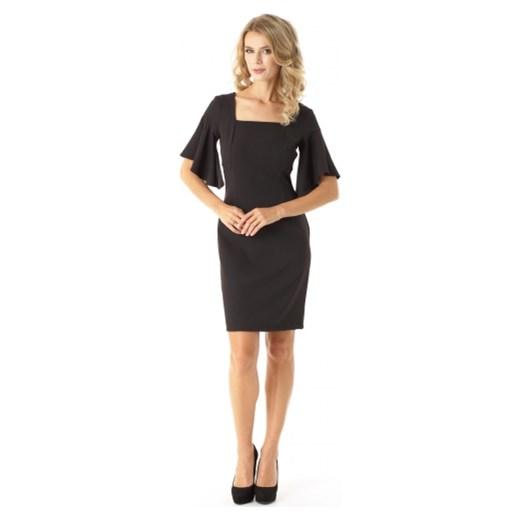 6b11731910 ... Sukienka Ella Dora elegancka z dekoltem karo midi z krótkimi rękawami