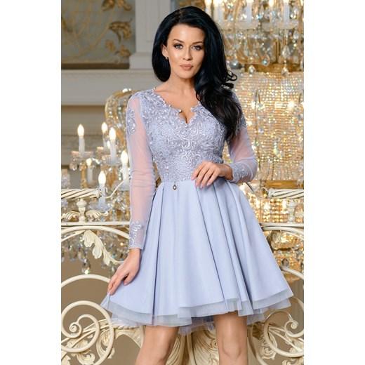 35ca203969 Sukienka Bico rozkloszowana z tiulu elegancka mini koronkowa w Domodi