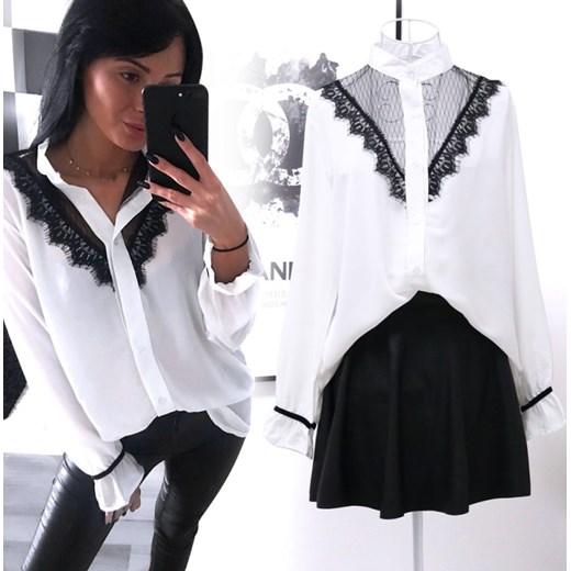 Najnowsze Koszula damska Magmac wiosenna ze stójką biała z długim rękawem HS93