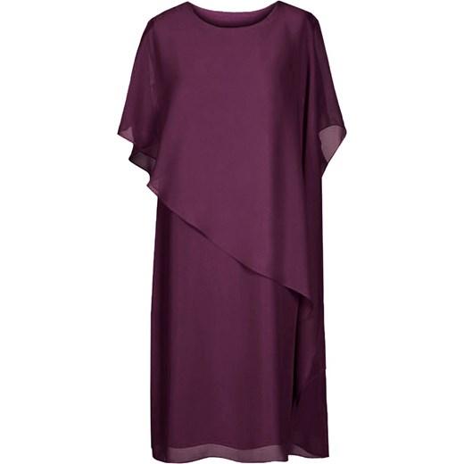 10d87c204f Sukienka fioletowa midi z wiskozy  Sukienka z okrągłym dekoltem dla  puszystych z krótkim rękawem z wiskozy midi ...