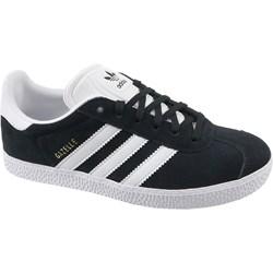 215ffd3577983 Trampki damskie Adidas gazelle z zamszu czarne na płaskiej podeszwie  sznurowane bez wzorów1