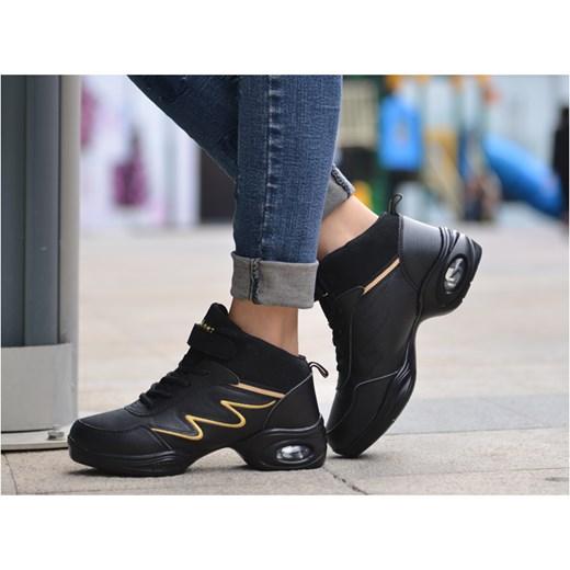 54d286625fe2d ... Czarne buty sportowe damskie Yaze do tańca sznurowane bez wzorów ...