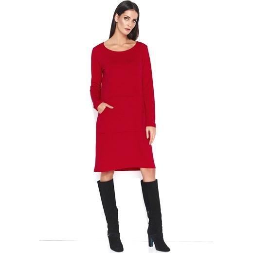 b996f3d5b8 Sukienka czerwona Makadamia z okrągłym dekoltem do pracy z poliestru z  długimi rękawami