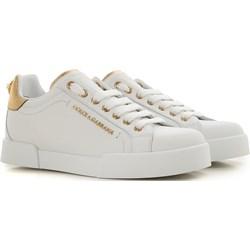 7e2be2ffc68f3 Dolce & Gabbana trampki damskie ze skóry sznurowane młodzieżowe białe bez  wzorów płaskie