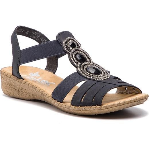 Rieker sandały damskie letnie bez zapięcia bez wzorów w Domodi