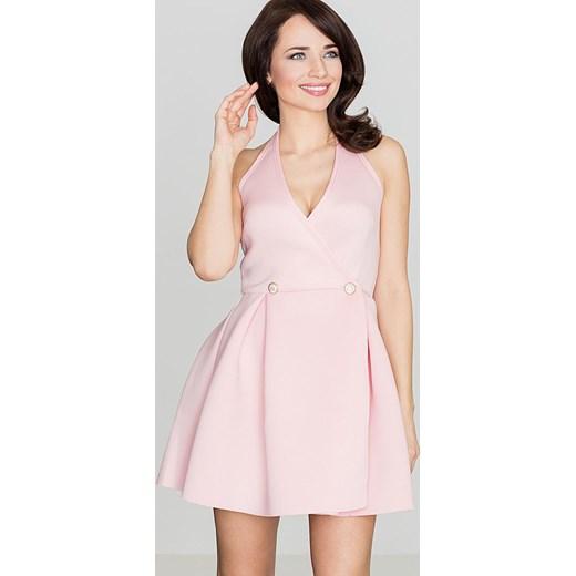 e2c89f2e3f Sukienka różowa mini bez rękawów z dekoltem v asymetryczna w Domodi