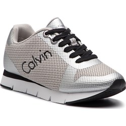 6e749e9d2bb07 Buty sportowe damskie Calvin Klein sneakersy na koturnie z tworzywa  sztucznego wiązane ...