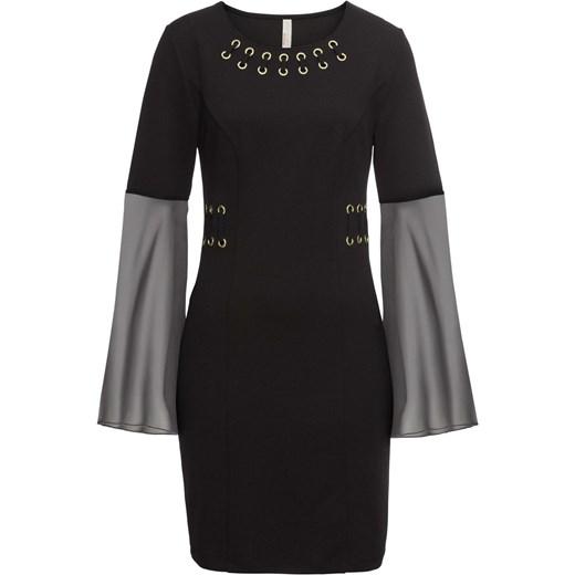 a603898a Sukienka Bonprix Bodyflirt Boutique czarna dopasowana z okrągłym dekoltem z  długimi rękawami gładka