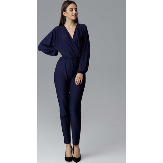 Niebieski kombinezon damski Figl z elastanu Odzież Damska UT niebieski Kombinezony damskie AHPQ trwałe modelowanie