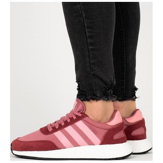 Różowe buty sportowe damskie Adidas Originals do biegania sznurowane na koturnie