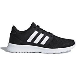 9e318e17fd57f Buty sportowe damskie Adidas dla biegaczy cloudfoam czarne gładkie skórzane  wiązane