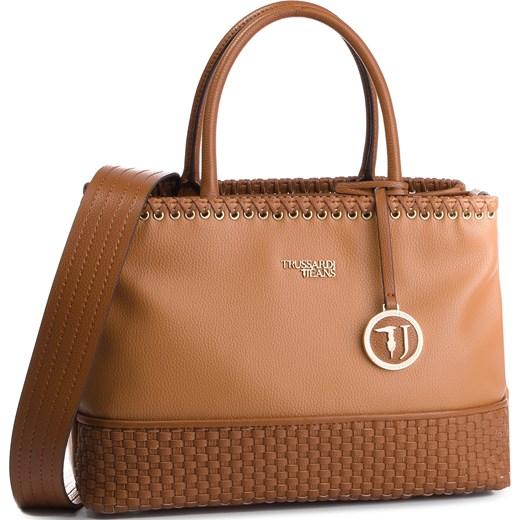 2a705e3f24d57 Shopper bag brązowa Trussardi Jeans retro średniej wielkości do ręki ...