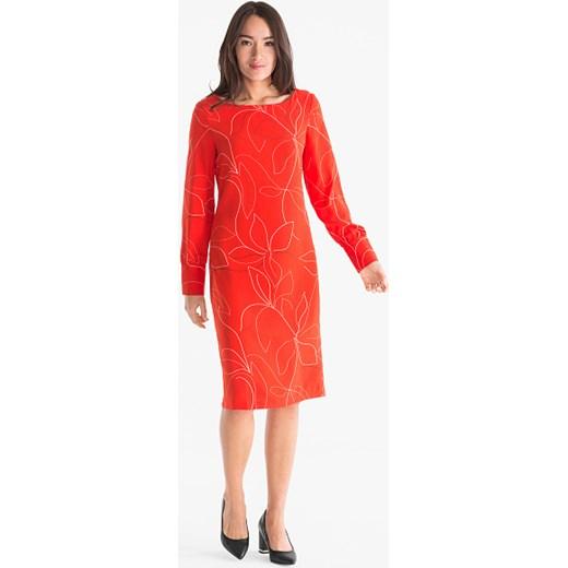 954ae375d6 Sukienka czerwona Your Sixth Sense z długim rękawem na spotkanie biznesowe