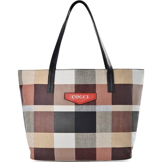 dbf17acd99b3c8 Zakupowa torebka damska duża shopperka a4 torba na ramię tote bag w kratę -  beżowy world ...