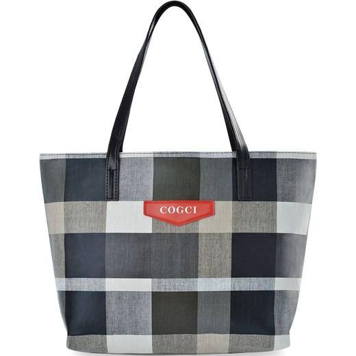 41e0edc8e8492e Zakupowa torebka damska duża shopperka a4 torba na ramię tote bag w kratę -  szary world ...