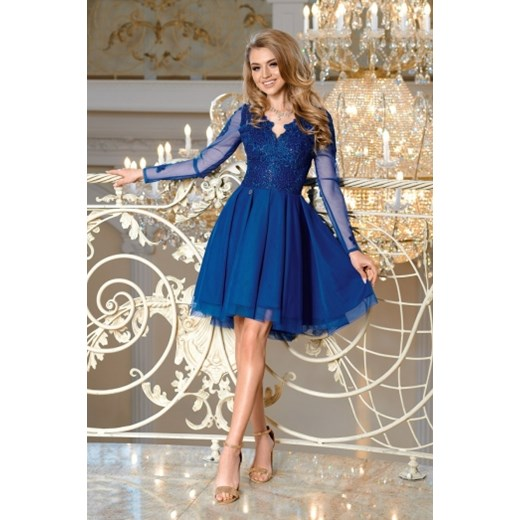 d8ed88617e68 Sukienka niebieska Bicotone rozkloszowana na karnawał z tiulu na zimę mini