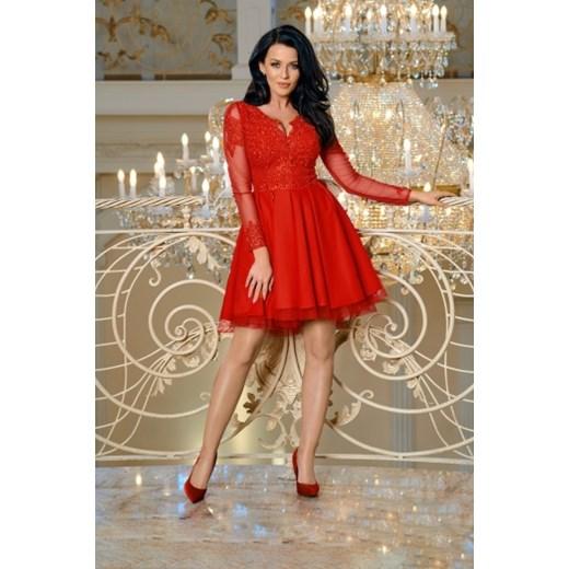 38d30ec41a Sukienka Bicotone na wiosnę czerwona na bal mini z dekoltem w literę ...