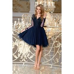 980262b8ba Sukienka Bicotone z tiulu rozkloszowana mini na bal z długim rękawem