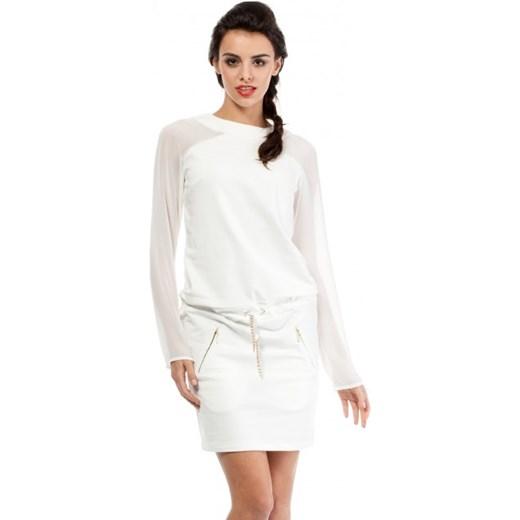 aedad1cb Sukienka Moe na co dzień biała prosta casual z okrągłym dekoltem