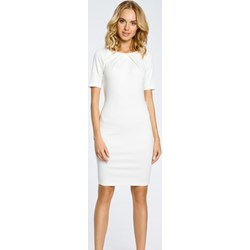 86989f88 Sukienka Moe biała na spotkanie biznesowe z krótkimi rękawami elegancka  mini ołówkowa