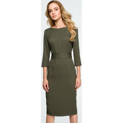 7b6cd3be Sukienka Style gładka zielona z okrągłym dekoltem ołówkowa