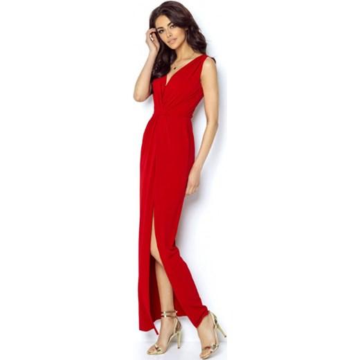 863d099ad4 Sukienka Ivon czerwona maxi prosta na karnawał elegancka w Domodi