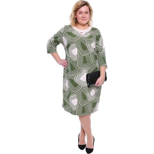 7367731ab3 Sukienka prosta midi z okrągłym dekoltem z elastanu w Domodi