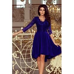 05ba2f3abe Sukienka Numoco asymetryczna niebieska koronkowa midi na studniówkę  elegancka z długim rękawem