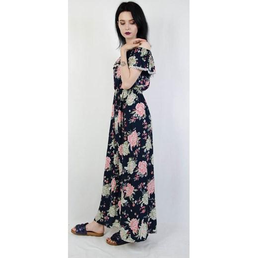 779dae8ddd ... Granatowa długa sukienka hiszpanka w kwiatowy wzór Olika L XL  olika.com.pl ...