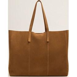 bf0858ed9e3ef Shopper bag Mango brązowa z poliestru
