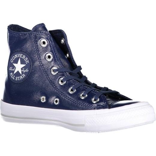b21f912867100 Trampki damskie niebieskie Converse skórzane sznurowane z wysoką cholewką